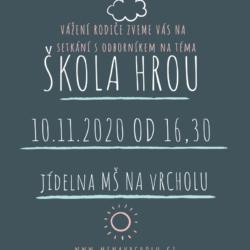 pozvánka na besedu pro rodič 10.11. od 16,30 MŠ Na Vrcholu